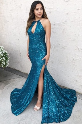 Glamorous Halter Criss-Cross Mermaid Prom Dress | Sexy Blue Side-Slit Sequins Evening Gown_3