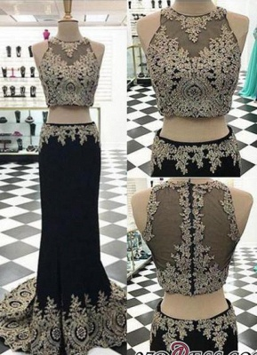 2020 Crystal Sleeveless Appliques Black Two-Pieces Mermaid Prom Dress_2