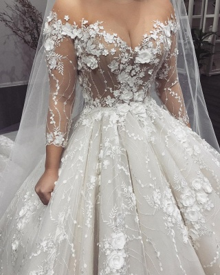 Sexy Crew Long Sleeves 2020 Bridal Gowns | Princess Lace Appliques Wedding Dress On Sale_3