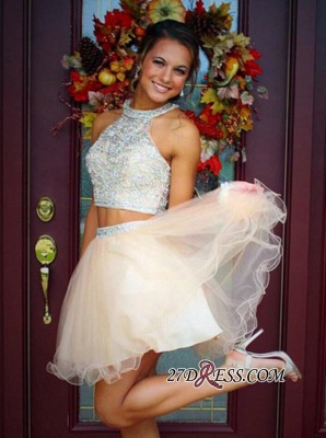 Short Champagne Halter Crystals Mini Discount Open-Back Two-Piece Organza Homecoming Dresses_4