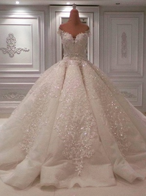 Elegant Off-the-Shoulder Sweetheart Sequins Bridal Gowns | Long Lace Appliques Ball Gown Wedding Dress On Sale_3