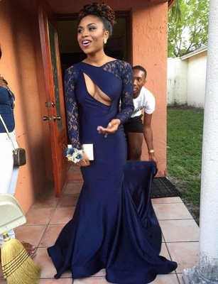 Sexy Navy Long Sleeve 2020 Prom Dress Lace Mermaid Long Party Gowns On Sale_1