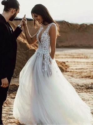 Sexy V-Neck Sleeveless Wedding Dress On Sale | Long Lace Appliques Tulle Wedding Reception Dress_3
