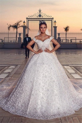 Chic Appliques Off Shoulder Wedding Dresses Sweep Train Sleeveless Bridal Gowns_8