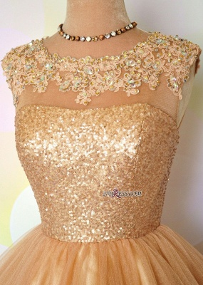 Gold Sequins Appliques Shiny Short Puffy Homecoming Dresses_4