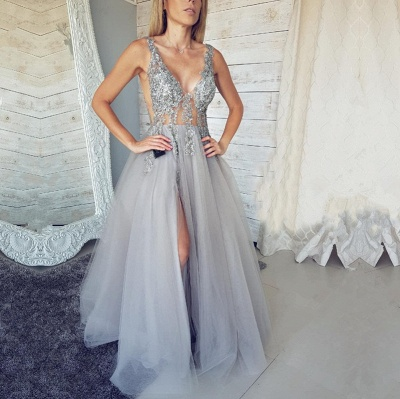 Elegant V-Neck Sleeveless Evening Dress | 2020 Tulle Prom Dress With Slit_4