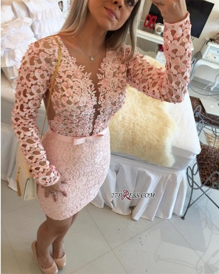 Appliques Mini Delicate Long-Sleeve Pearls Lace Tight Homecoming Dress_3