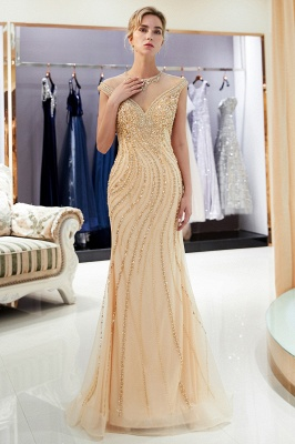 Glamorous Off-the-Shoulder Mermaid Gold Prom Dresses | 2021 Long Prom Gowns With Crystals_1