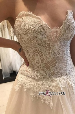 Luxury Applique Lace Tiered Backless Strapless A-line Sweetheart Wedding Dress_1