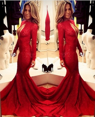 Sexy Lace Vintage Retro Mermaid prom Dresses Red Front Open Long Sleeve Prom Gowns with Sweep Train_1