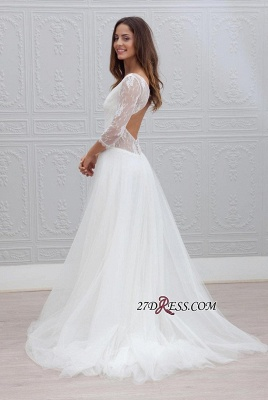 V-neck Sweep-train Simple Backless A-line Wedding Dress LPL120_1