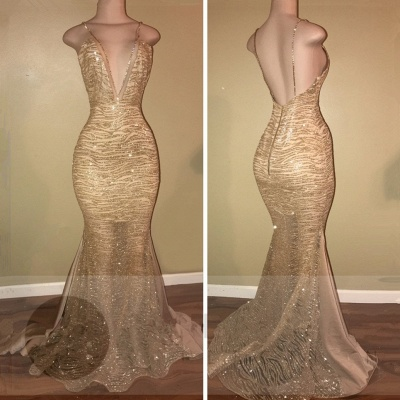 Sexy Gold Spaghetti Strap Mermaid Formal Dress | Open Back Prom Dress_2