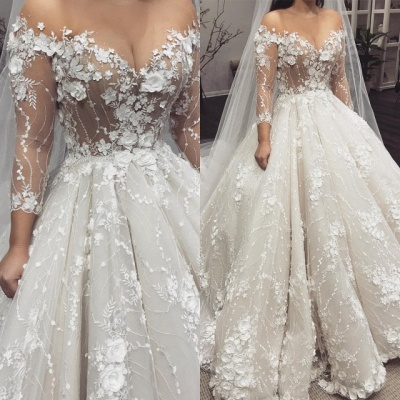 Sexy Crew Long Sleeves 2020 Bridal Gowns | Princess Lace Appliques Wedding Dress On Sale_4