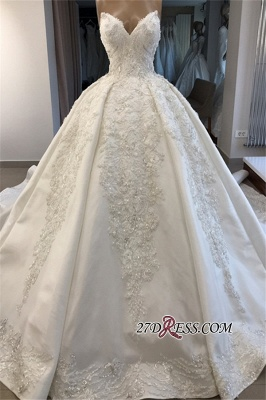 Ball-Gown Brilliant Sleeveless Sweetheart Appliques Wedding Dresses_4