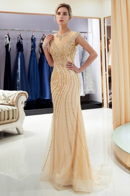 Glamorous Off-the-Shoulder Mermaid Gold Prom Dresses | 2020 Long Prom Gowns With Crystals_4