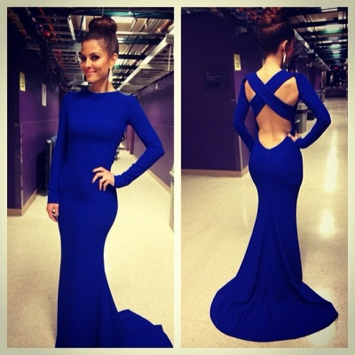 Sexy De Soiree Robe Mermaid Evening Dress 2020 High Neck Criss Cross Backless Royal Blue Prom Dresses with long sleeve_1