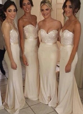 Gorgeous Sequined sheath prom dress satin newest style bridesmaid gowns_1
