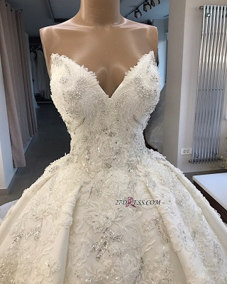 Ball-Gown Brilliant Sleeveless Sweetheart Appliques Wedding Dresses_1