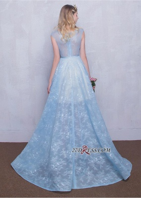 Fairy Sky-Blue Puffy Long Sheer A-line Lace-Appliques Prom Dresses_3