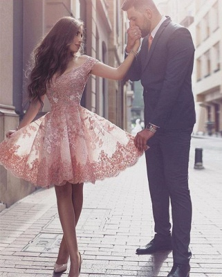 Gorgeous Short Sleeve Lace 2020 Homecoming Dress Short Tulle Prom Dress BA3500_1