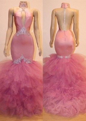 Gorgeous Pink Tulle Prom Dresses | 2020 Mermaid Crystal Evening Gowns BC1555_1