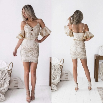 Chic Spaghetti-Straps Short Homecoming Dress | 2020 Sheath Lace Party Dress_5