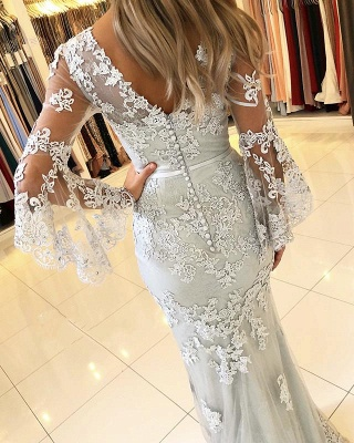 Delicate Lace Long Sleeve Mermaid Evening Dress | 2020 Mermaid Prom Gown_2