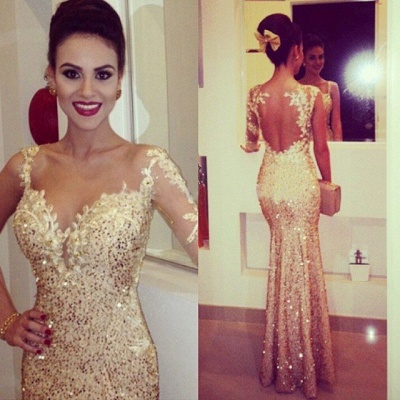 Gorgeous Sequined Mermaid Evening Dresses Sweetheart Appliques Floor Length Prom Gowns_1