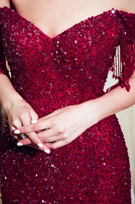 Vintage Burgundy Mermaid Evening Gowns | 2020 Sequins Long Prom Dress With Tassels_3