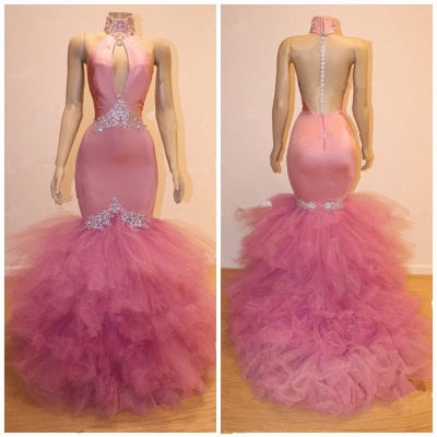 Gorgeous Pink Tulle Prom Dresses | 2020 Mermaid Crystal Evening Gowns BC1555_2