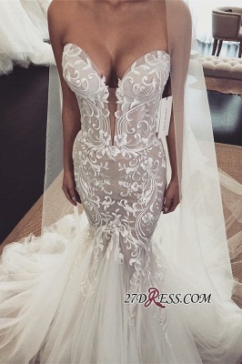 Sexy Lace Tulle Mermaid Wedding Dresses | Sweetheart Sleeveless Long Bridal Dresses_1