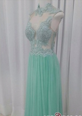 A-line Lace Floor-length High-neck Pearls Chic Evening Dress_1