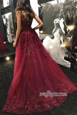 Burgundy Straps Detachable Beading A-Line Prom Dress | Sexy V-Neck Lace Tulle Side-Slit Evening Gown_1