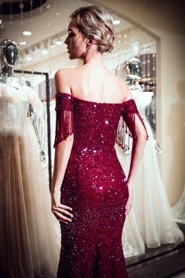 Vintage Burgundy Mermaid Evening Gowns | 2020 Sequins Long Prom Dress With Tassels_4