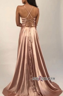 Spaghetti-Straps A-line Side Sexy Slits V-Neck Evening Dresses_2