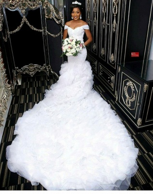 Gorgeous Off-the-Shoulder Lace Wedding Dress | 2020 Mermaid Ruffles Bridal Gowns BC0845_1