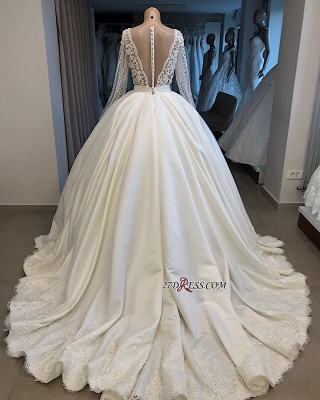 V-neck Long-Sleeves Ball-Gown Amazing Appliques Wedding Dresses_3