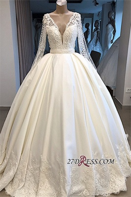 V-neck Long-Sleeves Ball-Gown Amazing Appliques Wedding Dresses_4