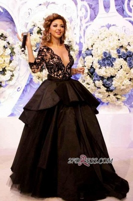 Deep-V-Neck Lace Sleeves Sexy Open-Back 2020 Black Prom Dress_3