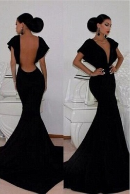 Sexy V-neck Black Mermaid Prom Dress 2020 Open Back_1