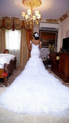 Gorgeous Off-the-Shoulder Lace Wedding Dress | 2020 Mermaid Ruffles Bridal Gowns BC0845_3