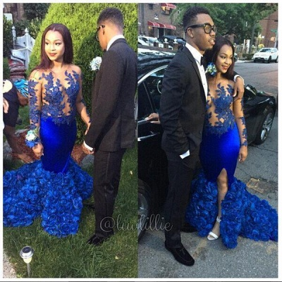 Modern Long Sleeve Royal Blue Prom Dresses 2020 Mermaid Woemn's Party Gowns BK0_3