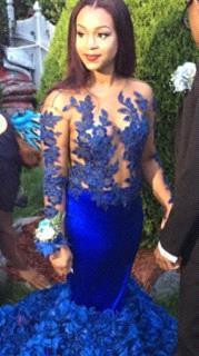Modern Long Sleeve Royal Blue Prom Dresses 2020 Mermaid Woemn's Party Gowns BK0_5