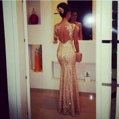 Gorgeous Sequined Mermaid Evening Dresses Sweetheart Appliques Floor Length Prom Gowns_2
