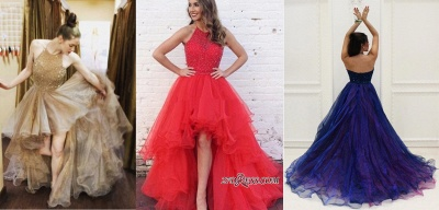 A-Line Halter Beading Low Prom Brilliant Dresses Tulle High Evening Dresses_2