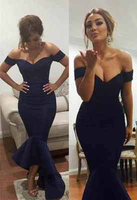 Sexy Off-the-shoulder Hi-Lo Mermaid Prom Dress With Ruffles_1