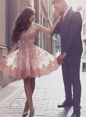 Gorgeous Short Sleeve Lace 2020 Homecoming Dress Short Tulle Prom Dress BA3500_4