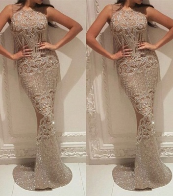 Gorgeous Crew Sleeveless Sequins Evening Dress | Mermaid Floor Length Prom Gowns With Tassels On Sale_6