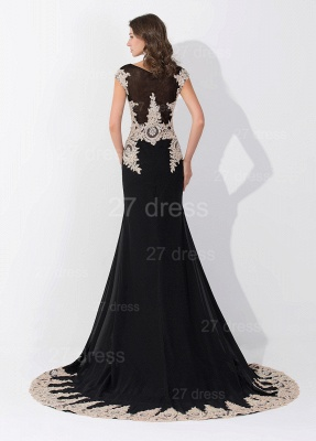 Sexy Black Lace Appliques Evening Dress Sweep Train_3