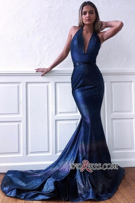 Navy-Blue Backless Sweep-Train V-neck Sexy Mermaid Evening Dresses_2